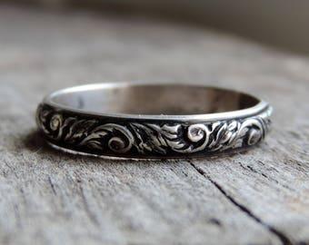 Floral Swirl Pattern Leaf Vine Stacking Ring Band | Sterling Silver | Antique Vintage Oxidized Patina, Curling Fern, Custom // Made to Order