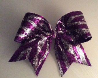 Purple and Silver Sequin Zebra Cheer Bow