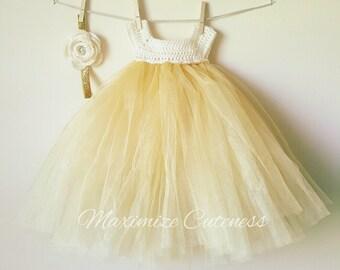 Crochet Tutu Dress, Baby Girl Dress, Crochet Tulle Dress, Tulle Dress, First Birthday Dress, Ivory and Gold Dress, Photography Prop