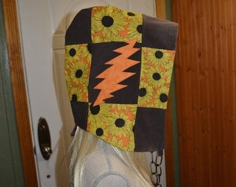 Patchwork corduroy and sunflower festival hood