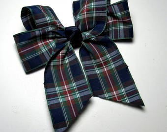 Plaid School Uniform Hair Bow - Beautiful Navy, Red and Green Plaid Single Bow for Casual Wear or to Match a School Uniform.