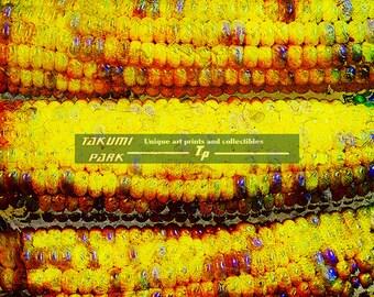 Yellow Art Print, Corn Art Print, Corn Cobs Artwork, Modern Vegetable Art Print, Dining Room Art, Kitchen Decor, Food Art, Gift For Foodie