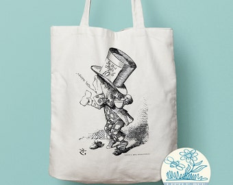 Alice In Wonderland - Mad Hatter Tote Bag - Shopping Bag, Cotton Tote, Long-handled tote bag