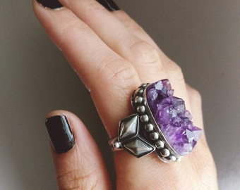 Amethyst cluster ring 8.5