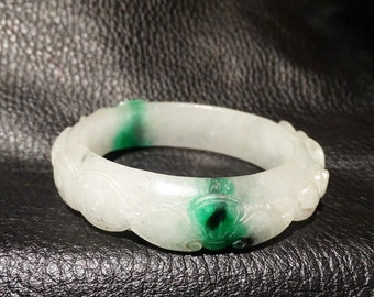 Carved Jadeite Bangle, Natural, 54 mm