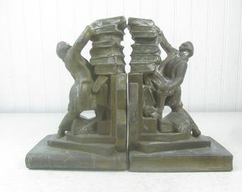 Metal Bookends, Man Holding Books Bookends, Made in Japan