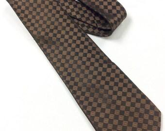 designer silk ties zx0g  Giorgio Armani Tie Brown Black Silk Mens Luxury Designer Woven Checkered  Necktie 100% Silk Tie Hand Made in Italy