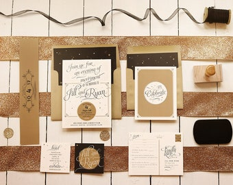 Gold Wedding Invitations - Starry Night Vintage Glam Invites - Vintage Invitation Set - Printable or Printed