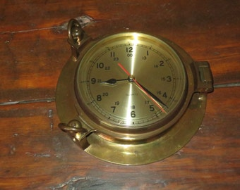 Vintage Solid Brass  Porthole Quart Wall Clock , Nautical Decor, Marine Collectible , Maritime