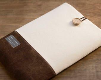 iPad mini case, iPad mini sleeve, 8 inch Custom Tablet case / Cream and Brown