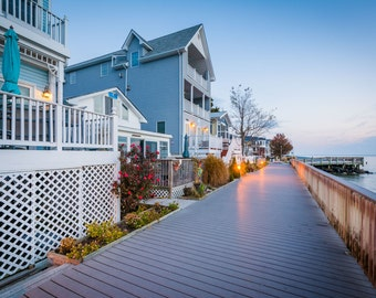 Waterfront houses and boardwalk, in North Beach, Maryland.