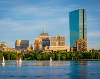 The Boston skyline and Charles River, seen from Cambridge, Massachusetts. | Photo Print, Stretched Canvas, or Metal Print.