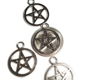 Pentagram 5 Pendants Pentacle pendants 5 Silver Pentacle Pendant large pentacle Pentacle for chain pentagram for chain pentacle supply