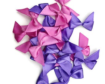 Purple & Pink Ribbon Bow Embellishments
