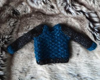 YoSD knit sweater | square turquoise-black
