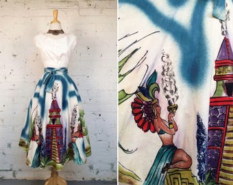Vintage 1950s Hand Painted Mexican Souvenir Circle Wrap Skirt