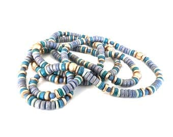 Long blue, green and gold-colored beaded necklace