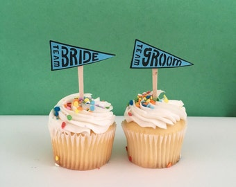 Team Bride and Team Groom Cupcake Toppers