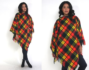 Vintage 60s Red Yellow Green Blue Plaid Cape Poncho Jacket Hippie