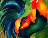 ACEO Card,Rooster Art print, Chicken painting, Farm animal painting, Rooster aceo print