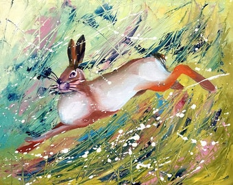 Bunny Rabbit Original Oil Painting on canvas board by Tetiana