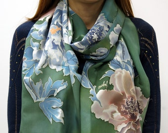scarf Peony in green. Hand painted silk scarf, green, blue, pink hand painted scarf Floral scarf. Peony flowers. READY to Ship
