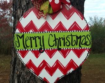Christmas Ornament Chevron Door Hanger, hand painted door hanger