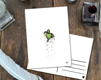 Turtle Baby - Postcard with Illustration, baby turtle trail ink green