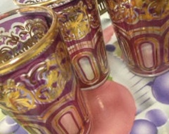 Vintage Fath set of 3 Hollywood Regency Moroccan Tea Glasses Purple Amethyst and Gold Trim