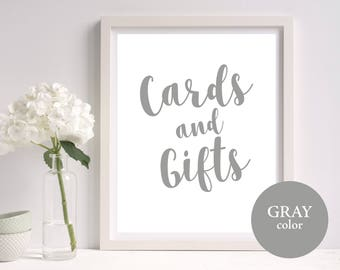 Cards and Gifts Sign, Gray Wedding Printable, Wedding Signs, Cards and Gifts Printable, Gift Table Sign, PDF Instant Download, MM03-5