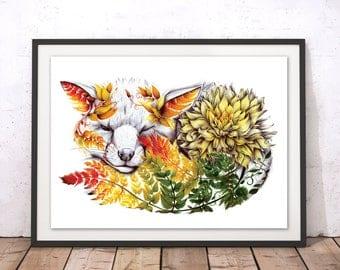 Floral Fox Print, Nursery Fox Illustration, Sleeping Fox Art Print, Autumn Fox Print, Decorative Fox Poster, Sheep Art Print by Kat Baxter