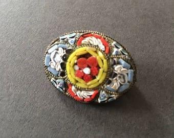 Micro Mosaic Brooch Pin Vintage Italian
