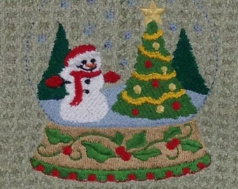 Snowman and Christmas Tree - Microfiber Hand Towel - Green Mist