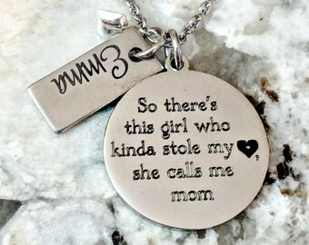 Mother's Day Mother Daughter Engraved Personalized Mom Necklace - So There's This Girl, So There are These Girls