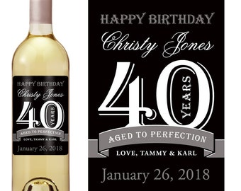 40th Birthday Wine Label - Personalized Wine Label - Custom Wine Label - Forty years - Milestone Birthday - Aged To Perfection