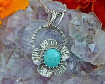 Sterling -  Silver - Natural Turquoise -  Flower -  Pendant - Necklace
