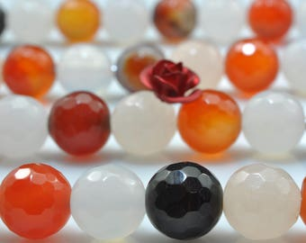 47 pcs of  Natural  Rainbow Agate  faceted round beads in 8mm