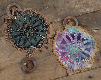 Mandala. Rainbow Splatter Patch. Batik Fabrics. Handmade. Iron-On. Made to Order.