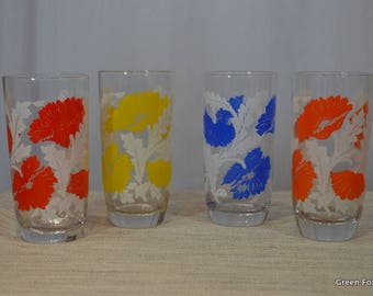 Four Vintage Poppy Glasses - Red, Orange, Yellow and Blue