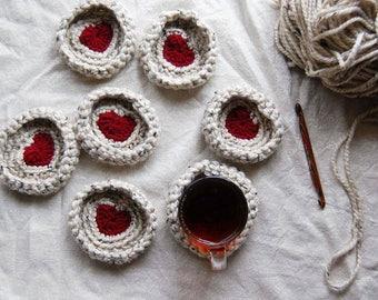SET of 2 Crochet Coasters | Heart Crochet Coasters | Tea & Coffee Coasters | Chunky Yarn| Drink Coaster | Tea Thoughts