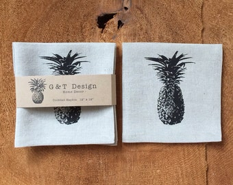 Tropical Black Pineapple Screen Printed Cocktail Napkins, 100% Linen, Set of 4 , Hostess Gift, Party Napkins