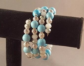 Light ocean blue memory wire bracelet