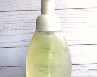 Liquid hand soap- COCONUT-LIME liquid soap, vegan hand soap, foaming hand soap