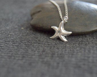 silver starfish necklace, sterling silver sea star necklace, ocean necklace, tiny starfish necklace, nature jewelry, everyday beach necklace