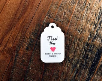Thank you favor tag, bridal shower favor tag, thank you hang tag, heart thank you tag