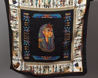Vintage Scarf  / Fashion Scarf / Egyptian Printed Scarf / Silk Scarf / King Tut Scarf / Egypt / Egyptian Revival