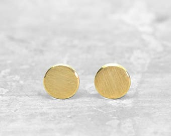 Point Ear earrings made of 925 silver / 999 fine gold, round earplugs, slices, dots, punk earrings, earrings
