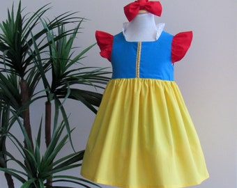 Snow White Inspired Dress and Headband Set. Everyday Princess Dress for Girl Sizes 1-12