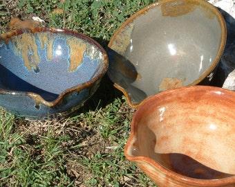Handmade stoneware pouring bowl, mixing bowl