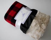 Buffalo check with Rabbit Fur Minky Back and Black Satin Trim Blanket, Baby Girl or boy, Baby Shower, Red and Black, Flannel, Plaid
